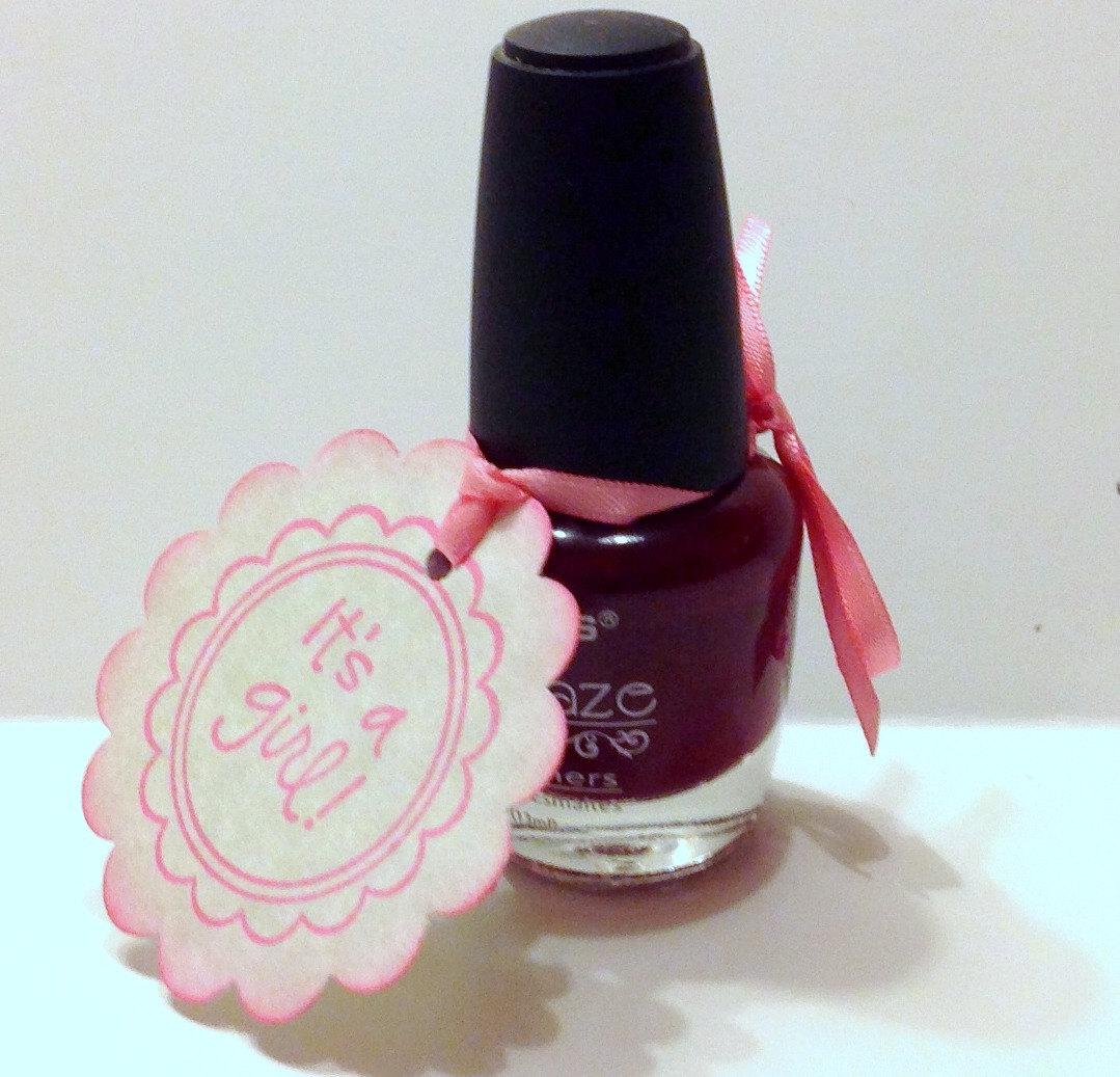 Nail Polish For Baby: 20 Baby Shower Nail Polish Favor Tags, It's A Girl Baby