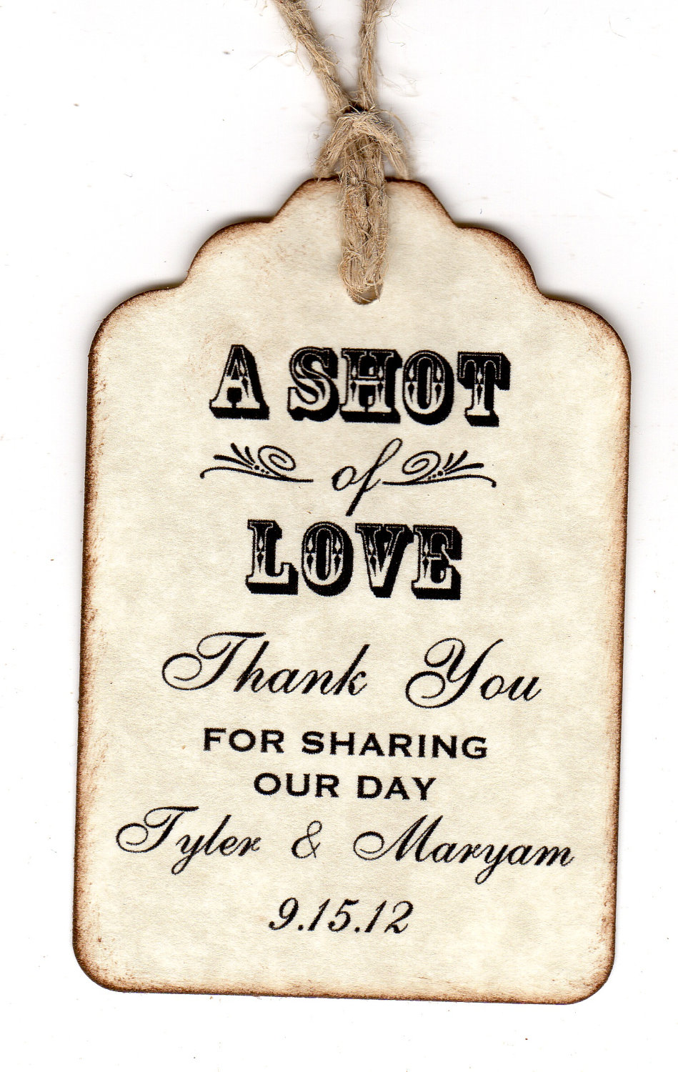 100 Personalized Shot Of Love Wedding Favor Tags / Place Cards ...