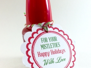 Christmas Gift Tags, Nail Polish Favor Tags, For Your Mistletoes, Mistle Toes Fa