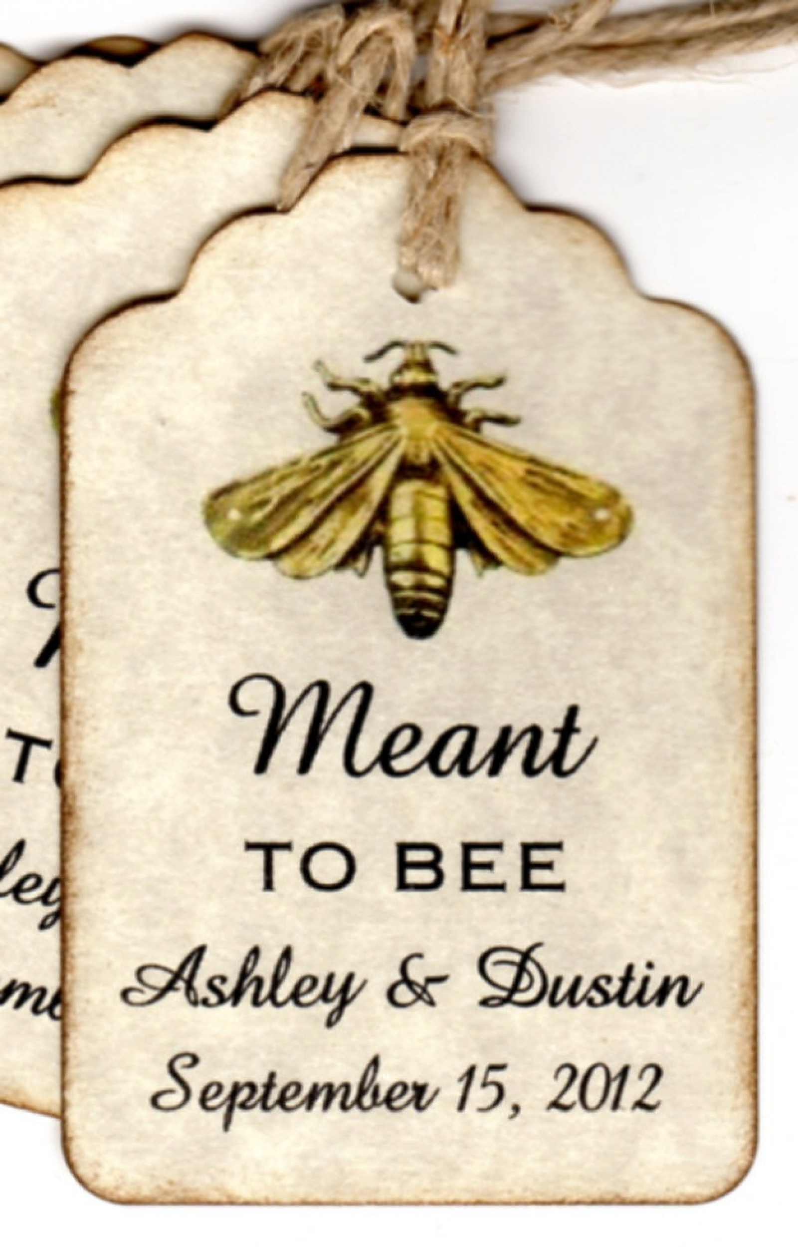 100 Meant To BEE Wedding Favor Gift Tags, Wedding Wish Tags, Escort ...