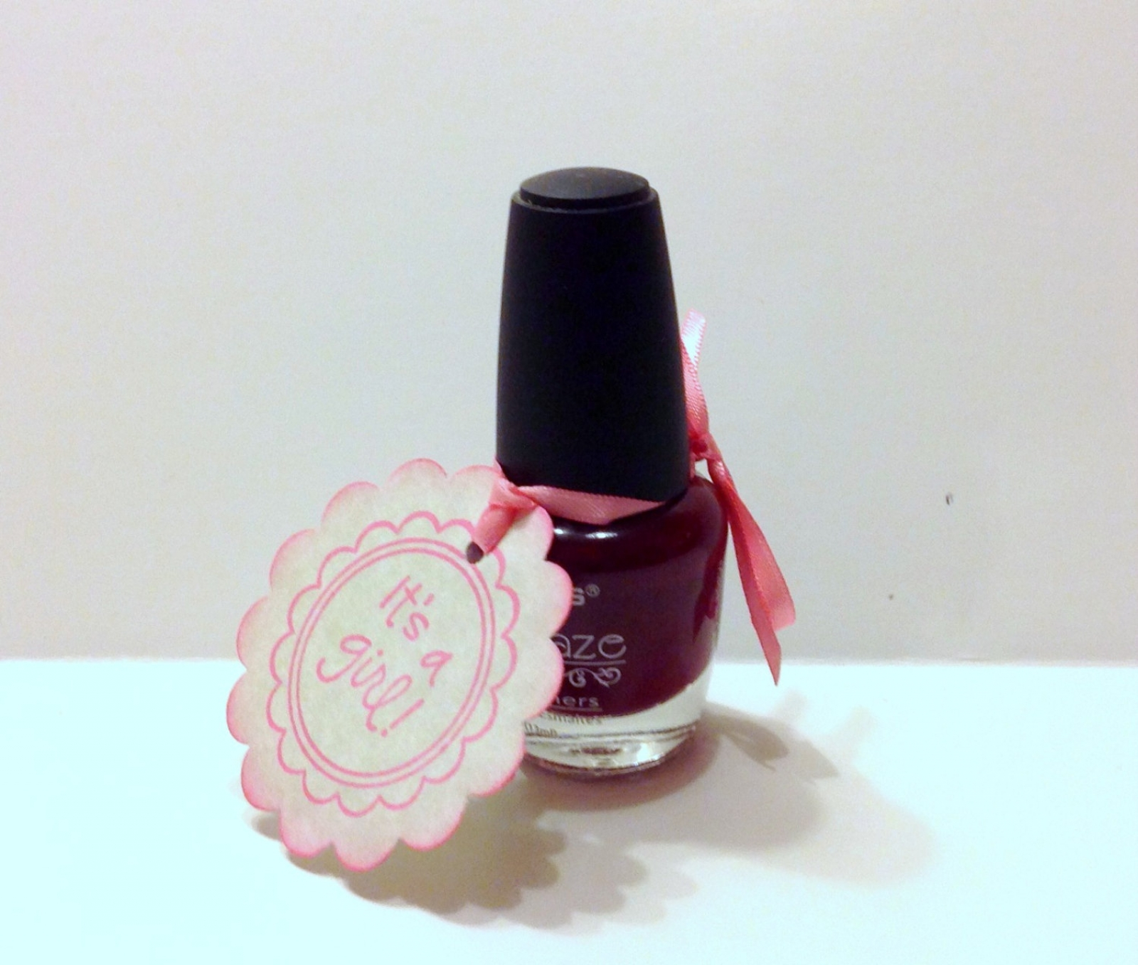 20 Baby Shower Nail Polish Favor Tags, It's A Girl Baby