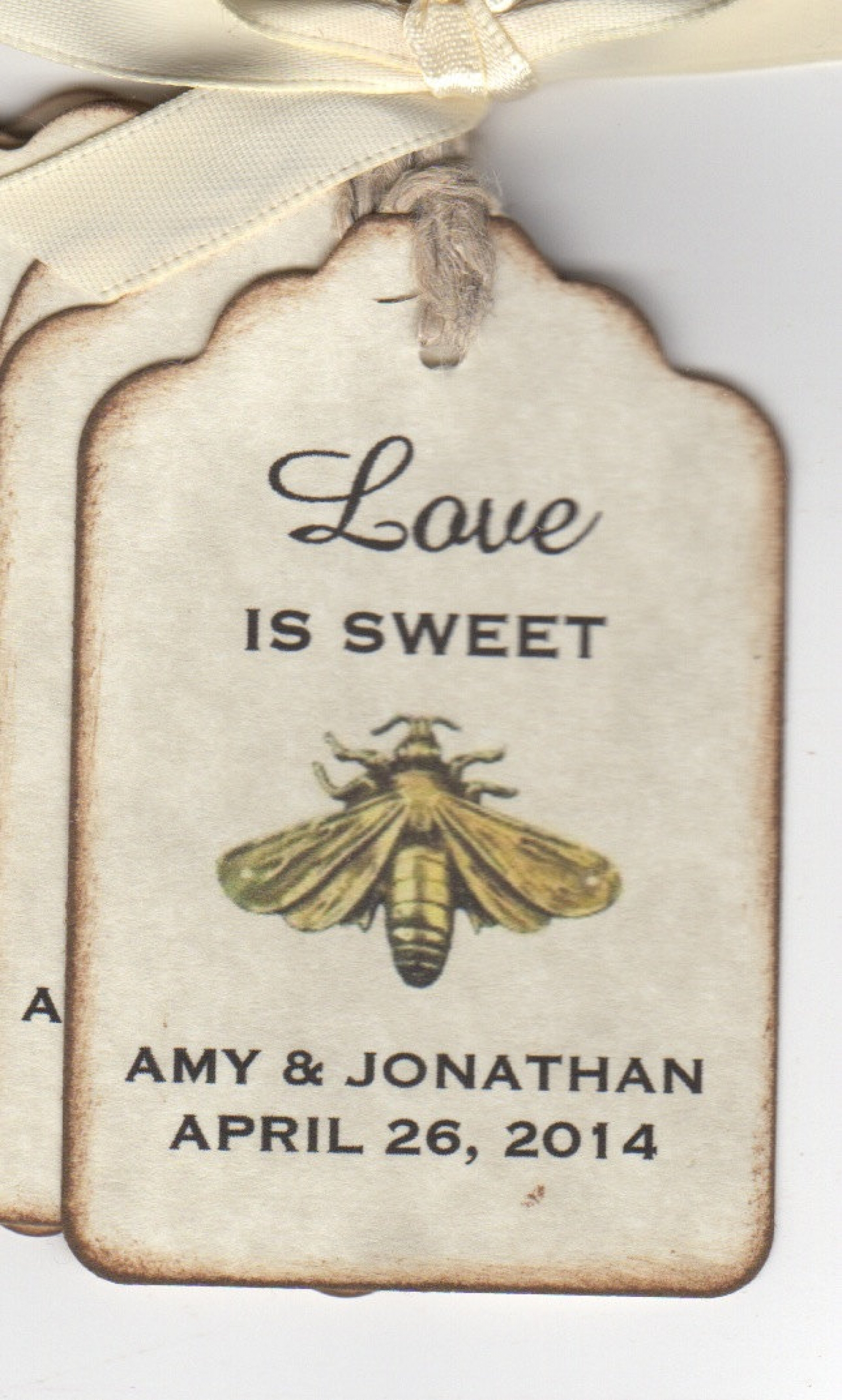 50 Vintage Love Is Sweet BEE Wedding Favor Tags / Wedding Wish Tags ...