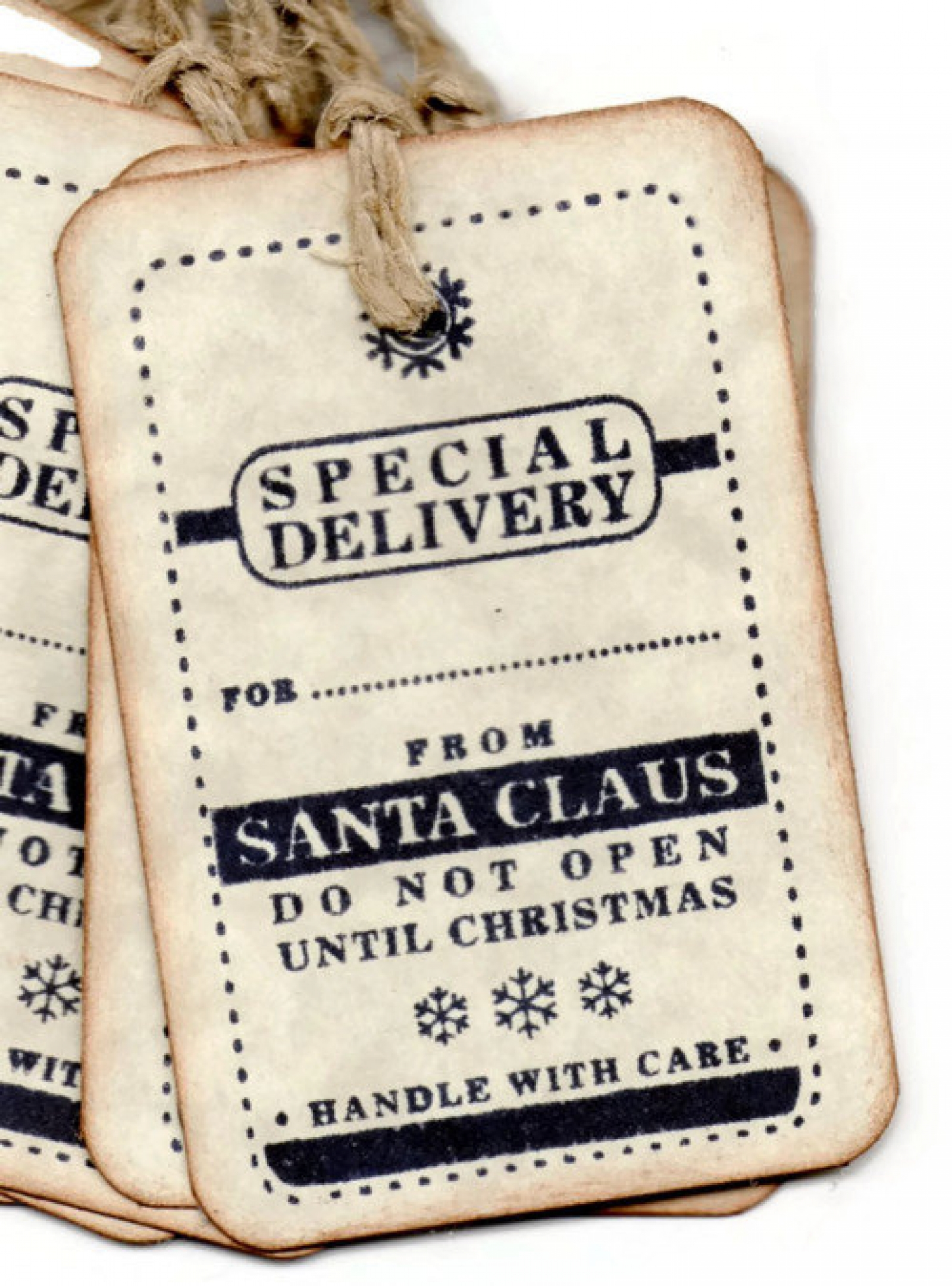afcbe22ef60f Christmas Tags Christmas Gift tags - Special Delivery From Santa - Vintage  Style - Hand stamped - Set of 6