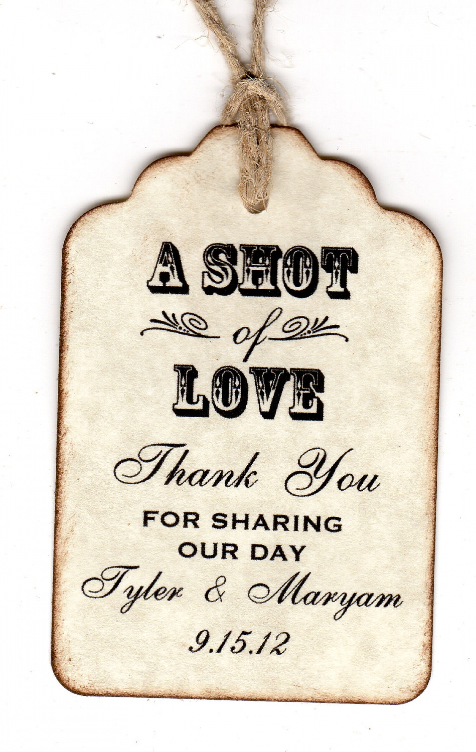 100 personalized shot of love wedding favor tags place cards