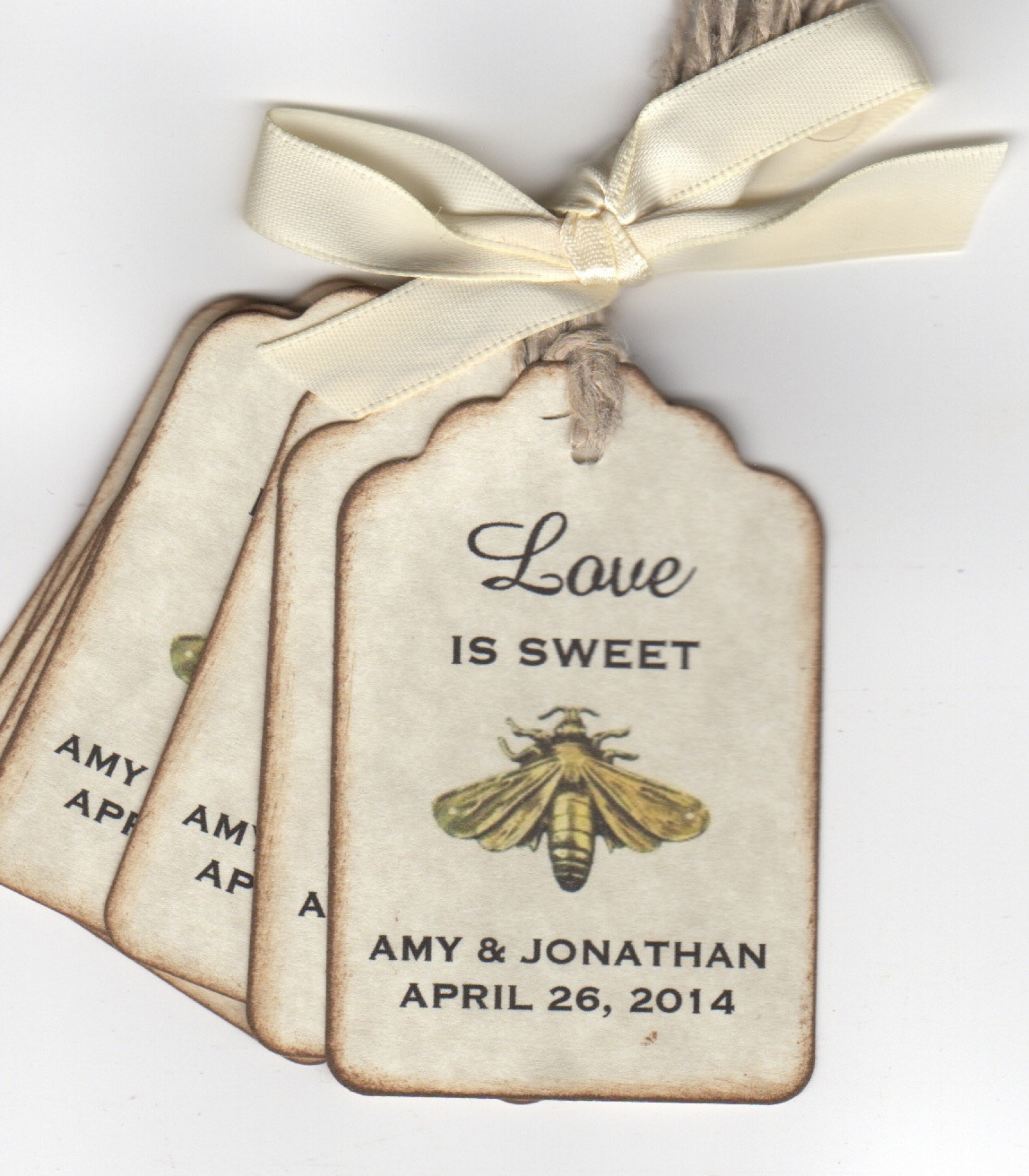 50 vintage love is sweet bee wedding favor tags wedding wish