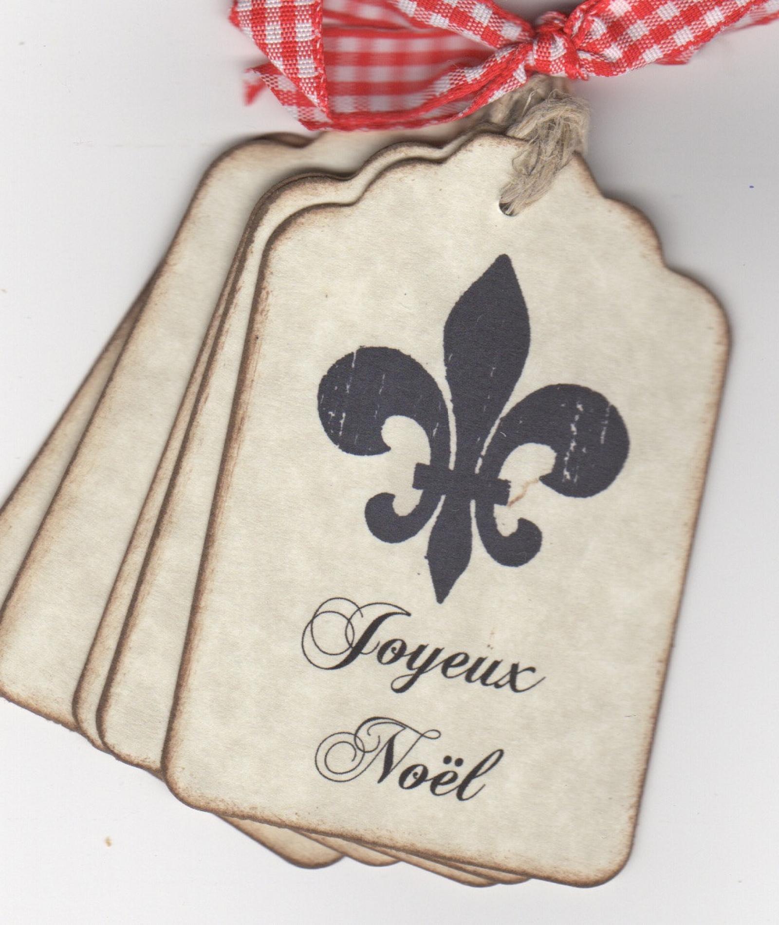Vintage Inspired Christmas Gift Tags French Fleur De Lis Joyeux Noël ...