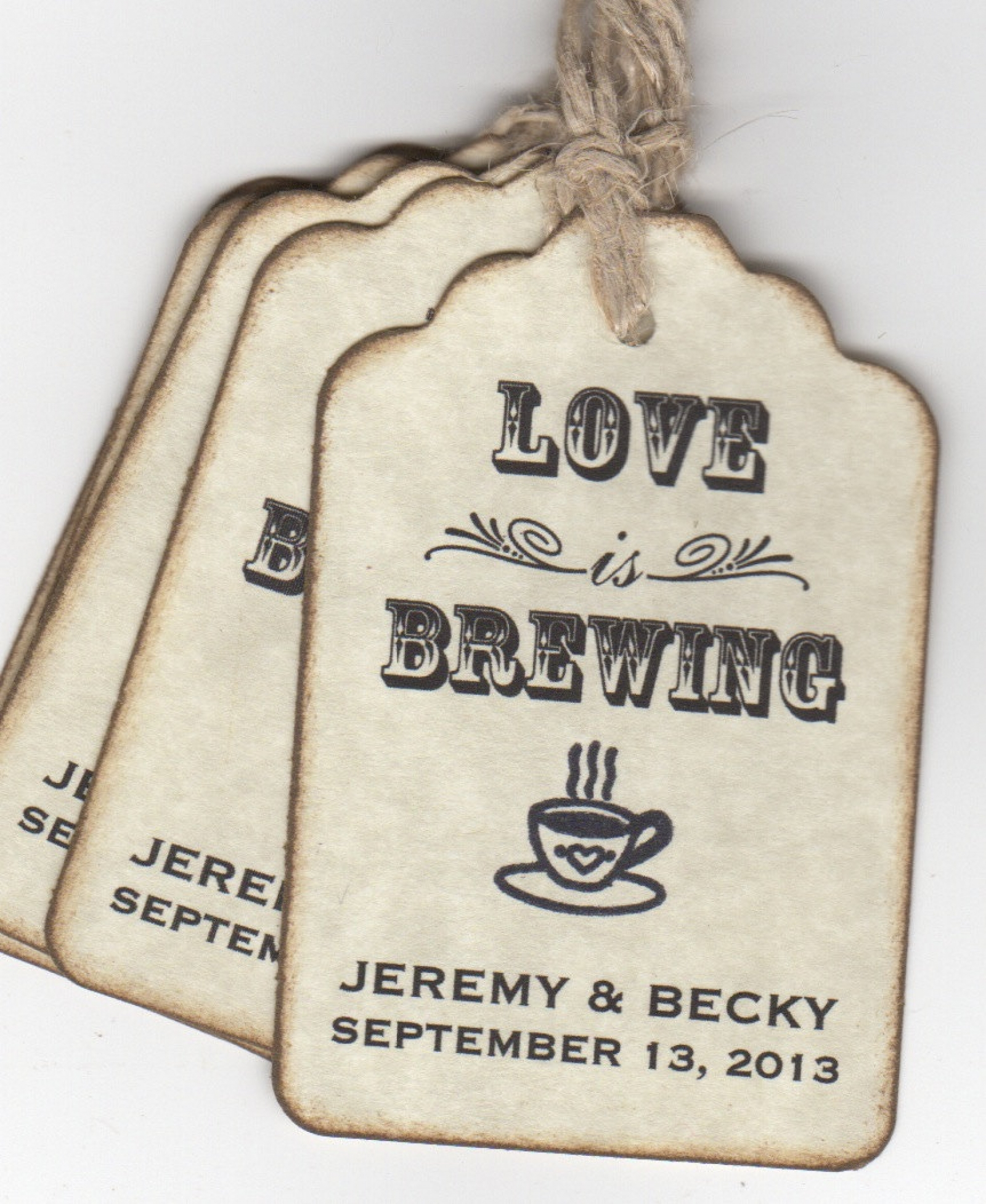 love is brewing wedding favor tags personalized place cards